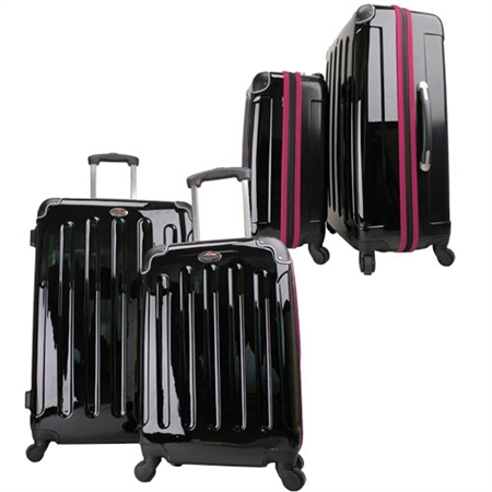 Swiss Case 4 Wheel 2pc Suitcase Set BLACK/PURPLE