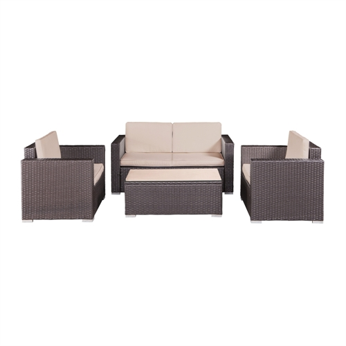 Palm Springs Rattan 4 Piece Patio Furniture Set Golf Outlets Of America