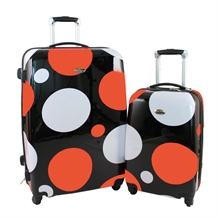 Swiss Case 4 Wheel 2pc Suitcase Set ORANGE DOTS