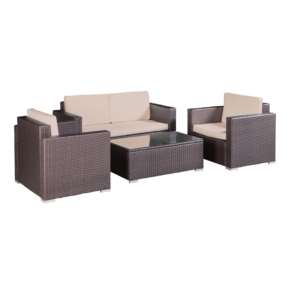 Palm springs outdoor 4 pc furniture wicker patio set w for Patio furniture table