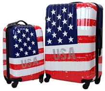 Swiss Case 4 Wheel 2pc Suitcase Set US FLAG