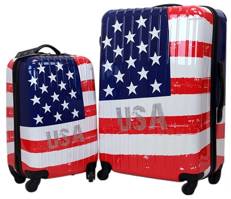 Swiss Case 4 Wheel EZ2C 2pc Suitcase Set US FLAG