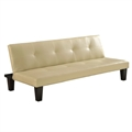 Homegear Modern Faux Leather Sofa /Couch Bed Cream