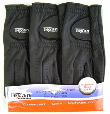 Texan Classics 3 pack Black GLOVES - For Lefty's