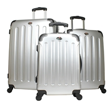 Swiss Case SILVER 4 wheel 3pc Hardcase Luggage Set
