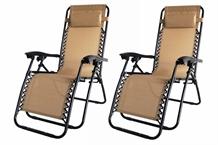 2 Palm Springs Folding Zero Gravity Chair Tan