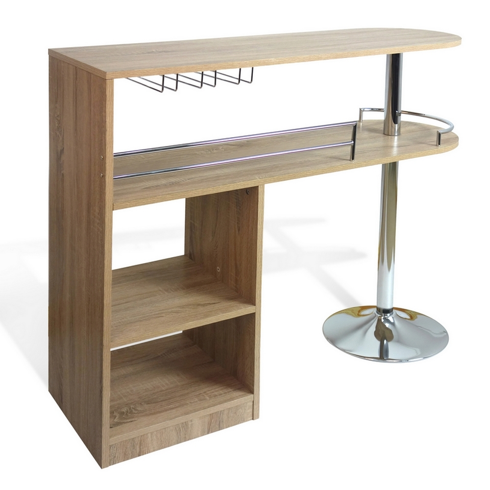Homegear Kitchen Cocktail Bar Unit Table Oak Ebay
