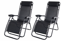 2 Palm Springs Folding Zero Gravity Chair Black