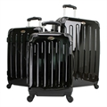 Swiss Case BLACK 4 wheel 3 PC Hardcase Luggage Set