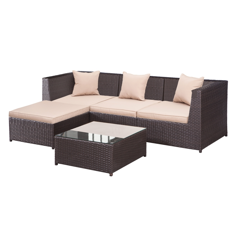 Palm Springs Outdoor 5 Pc Furniture Wicker Patio Set W Chairs Table Cushions Ebay