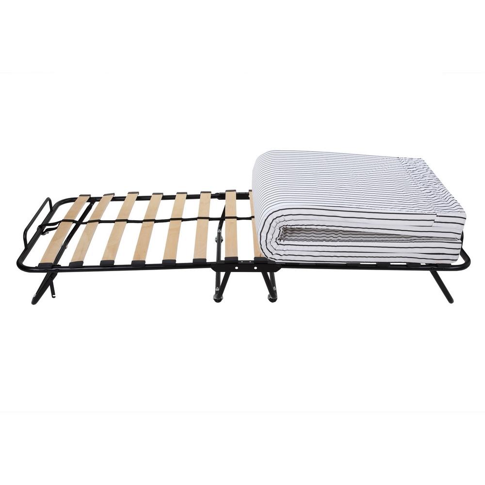 Homegear Rollaway Heavy Duty Steel Frame Wooden Slat