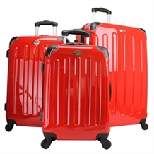 Swiss Case RED 4 wheel 3 PC Hardcase Luggage Set