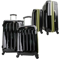 Swiss Case 4 Wheel 2pc Suitcase Set BLACK/YELLOW