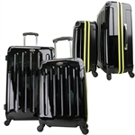 Swiss Case 4 Wheel 2pc Suitcase Set BLACK/YELLOW