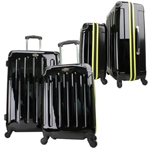Swiss Case 4 Wheel EZ2C 2pc Suitcase Set BLK/YELLW