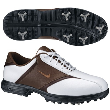 Nike Mens  Heritage WHITE/BROWN Golf Shoes