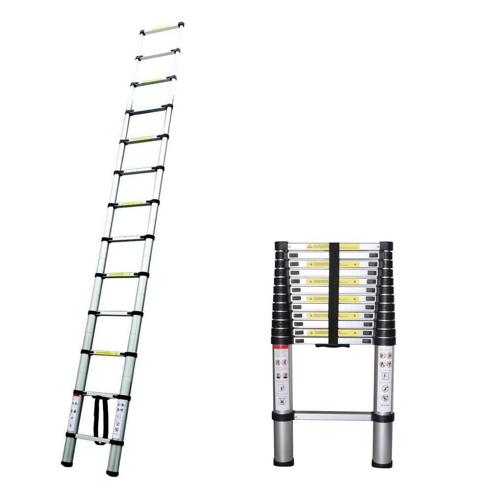 Aluminum Extendable Ladder : Homegear ft aluminum telescopic extendable ladder ebay