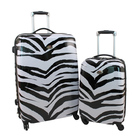 Swiss Case 4 Wheel 2pc Suitcase Set ZEBRA