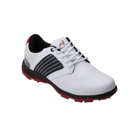 Woodworm Player V2 Leather Golf Shoes White/Red
